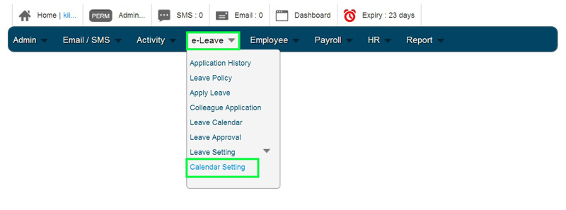 BMO e-Leave Administrator Account Home Page