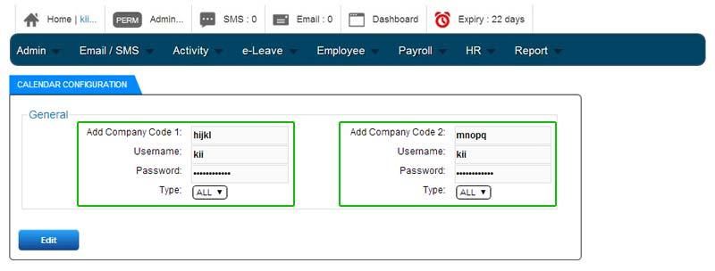 BMO e-Leave Insert Multiple Company Code