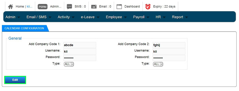 BMO e-Leave Edit Calendar Configuration