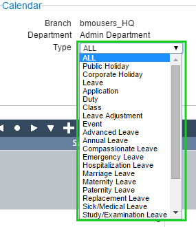 BMO e-Leave Transaction Calendar Display for Admin 3