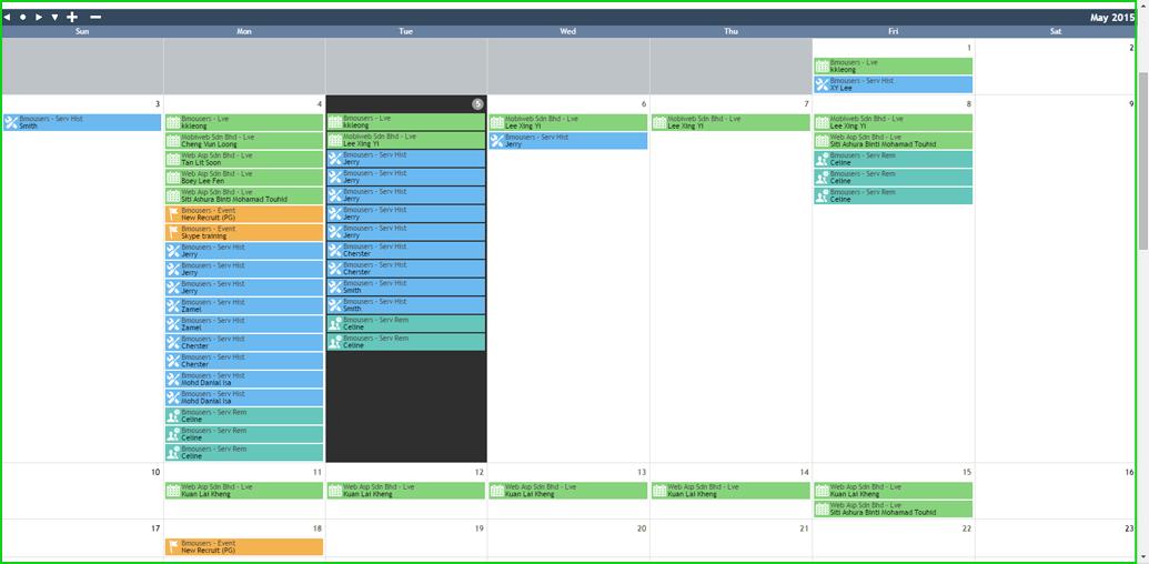 BMO e-Leave Transaction Calendar Display for Admin 3