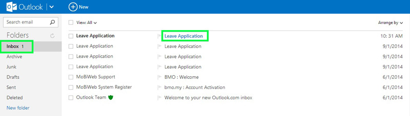 BMO e-Leave Approver Email Inbox