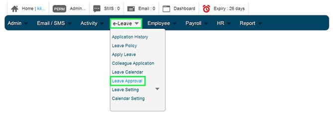 Approver BMO e-Leave Account Home Page