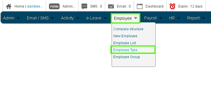 Online Leave Management System Employee Type 1