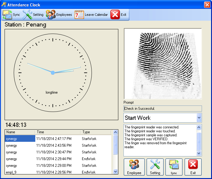 e-leave Check In with Fingerprint