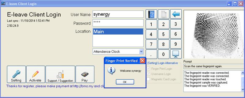 e-Leave Login with Fingerprint