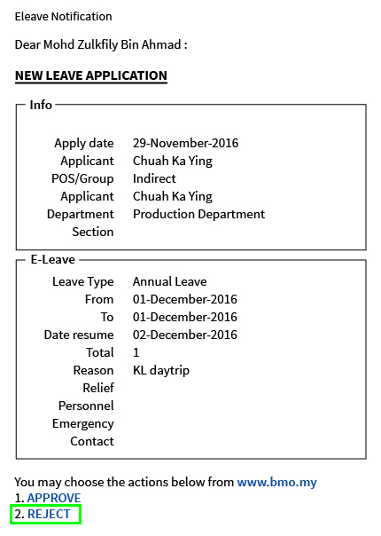 6 0 E Leave Application Bmo Online Hrm System Leave